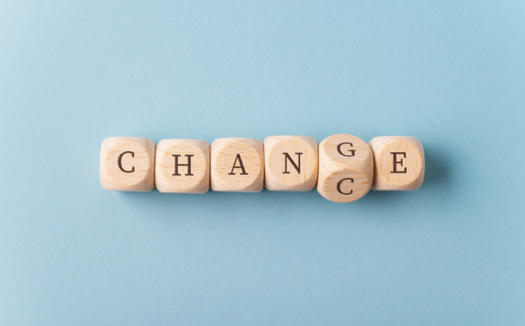 Word Change changing in to Chance spelled on wooden dices